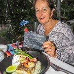 Pan fried fillet of ocean fresh wild Barramundi set upon a king prawn & coconut risotto