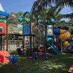 Kids Mania outdoor shaded playground with amazing view over Royal Phuket Marina