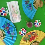 Fans, eco bags, paper umbrellas, sculptures & canvas ara available for painting