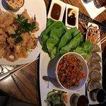 Kona Calamari, Chicken & Shrimp Lettuce Wraps, Potstickers