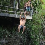 zip Lining into the razy cool cenote