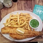 Haddock, chips and mushy peas