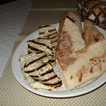 Grilled haloumi and pita for starters