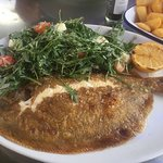 Lovely lemon sole with rocket salad and chips