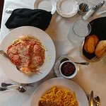 Shrimp, Scallop, and Crab Diablo w/ Linguine, Sauerbraten & Spatzle w/ Red Cabbage
