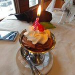 Birthday surprise at the end of our meal!