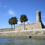 A Spanish fort Castillo de San Marcos, oldest masonry bldg in US, made of coquina.