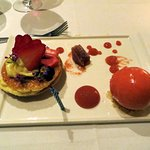 Strawberry and Rhubarb Tart with Strawberry Sorbet