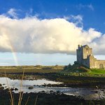Dungaire Castle with a rainbow captured.