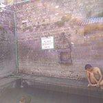 taking bath in hot spring