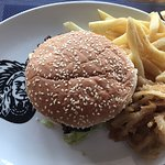 Burger and chips and onion rings