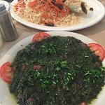 The vegetarian spinach dish and the lamb shank dish