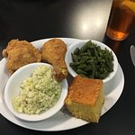 Lisa's Fried Chicken, green beans, cole slaw, and southern style cornbread.