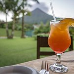 Lomas Special drink. View of Volcano from the dining area.