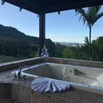 View of jacuzzi tub on back deck of #514