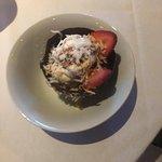 Coconut Ice Cream in chocolate dish