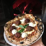 Delicious Pizza stuffed with Meatballs,red onion caramelized and fresh mozzarella homemade