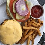 Edamame and my medium rare Jade burger