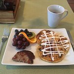 Breakfast: Orange and Ricotta Chocolate Chip Pancakes with Sausage and Fresh Fruit