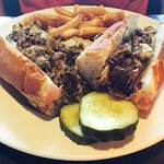 Cheesesteak and fries.