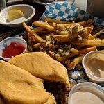 Mud Pie, sports lounge, and Brisket sandwich and GARLIC Fries