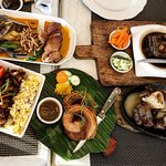 Crispy Pata Kare kare, Braised pork belly, Adobo Rice, Lechon Roll, and Bulalong