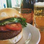 Vegan Burger Patty, GF Bun and GF Beer