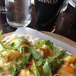 Flatbread w/ Artichoke Hearts, Peppers, Olives & Mozzarella