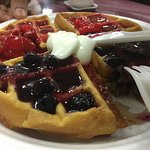 Awesome waffles with sauce options - Blueberry, strawberry, maple or yogurt