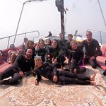 Diving group photo on the dhow boat