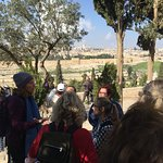 Gila sharing about the history of the Mount of Olives