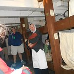 Hold of the ship for steerage passengers. Each bunk for a family.