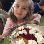 Granddaughter loved strawberry 🍓 pancakes! Grandson tried something new crab 🦀 cake Benedict l