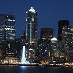 Night from sea overlooking Seattle.