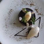 Choc hazelnut tart with vanilla bean icecream
