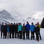 Our group of 13 in front of Assiniboine Lodge
