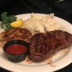 steak and crabcake with mashed