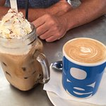 Iced Coffee and Mug of Flat White