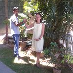 Nicola Catherine with Chanaka, Manager celebrating Friendship and Beauty in Kandy at the Days In