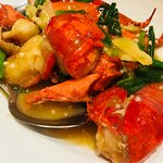 Baked lobster with ginger & spring onion