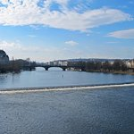 Weir and one of many bridges on the Vitava River - from Charles Bridge.
