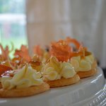 Kransekake bites with mascarpone and candied prosciutto at How Sweet It is cakes