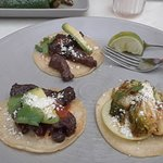 2 Skirt steak tacos on left, brussel sprout taco on right