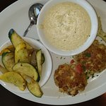 Blue Crab Cakes, Side of Grits, Veggie Side