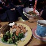 shrimp, baked potato and broccoli