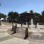 Entry plaza to Coligny Beach with fountains and restroom facilities