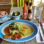 Steamed Snapper over Callaloo greens and vegtables with Rice and Peas ... with extra Callaloo!