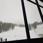 Canyon Lodge Grizzly's Bar view during snow storm Mar 2018