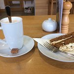 Latte and carrot cake.