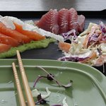 delicious meal of raw tuna and salmon
